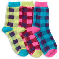 Buffalo Plaid Fuzzy Anklet Socks | LittleMissMatched