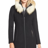 Women's Soia & Kyo 'Charlene' Wool Blend Coat with Genuine Fox Fur,