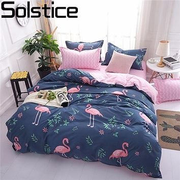 Solstice Cartoon Pink Flamingo Bedding Sets 3/4pcs Geometric Pattern Bed Linings Duvet Cover Bed