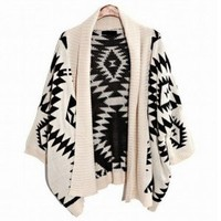 Group@ Beige Aztec Oversized Open Front Loose Sweater Cape Cardigan Coat Tops Women