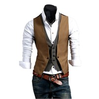 Partiss Mens Slim Fit Fake Two Piece Vest Stylish Waistcoat