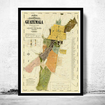 Old Map of Guatemala City , Guatemala 1894 Vintage map Guatemala