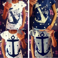 Feitong 2015 Women's Summer Style Letter Print Anchor Slim Cotton Casual Blouse Shirts Tops Plus Size XXL = 1956816708