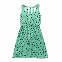 Aokdis Eagle Pattern Loose-fitting Summer Dress All-match One-piece Dress