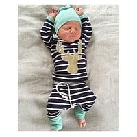 Baby Boy Girl Autumn Outfit Clothes Newborn Kids Striped T-Shirt Tops+ Blue Striped Pants Trousers+Hats 3PCS Set