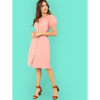 Button Front Lantern Sleeve Dress