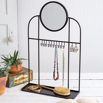 Tabletop Vanity Mirror and Jewelry Stand