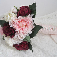 Gorgeous Burgundy Wine  Mixed Flower Bridal Bouquet French Knotted with Faux Rhinestone Buttons on  Handle Ready to Ship Wedding Bouquets