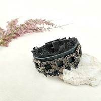 Grey distressed leather bracelet, lace and leather cuff, boho chic jewelry, chain leather wrislet