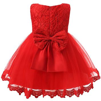 Baby Girl Clothes Infant Party Dress For 1 Year Girl Baby Birthday Frock Newborn Toddler Girl Christening Gown Red Baptism Dress