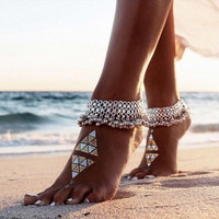 Fashion Sexy Silver Anklet Chain Bell Barefoot Ankle Charm Bracelet Foot Jewelry