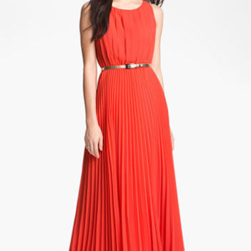 Eliza J Pleated Chiffon Maxi Dress (Regular & Petite)