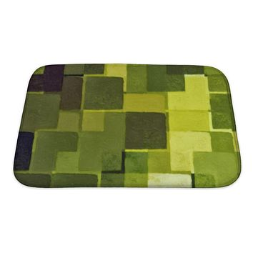 Green squares bath mat