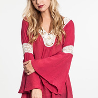 Bell Sleeve Tunic with Lace Detail