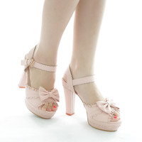 White/Pink Princess Lace Bow High Heel Shoes SP152126