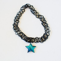 Crystal Star 90s Tattoo Choker / Black Stretch Choker with Iridescent Star Pendant