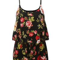 LE3NO Womens Sleeveless Ruffled Floral Print Romper (CLEARANCE)