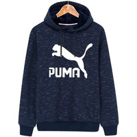 PUMA 2018 autumn and winter new hooded plus velvet long sleeve pullover sports sweater Blue