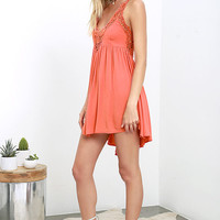 Amor Mio Coral Pink Backless Lace Dress
