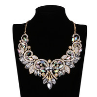 Shiny Rainbow Crystal Flower Choker Big Statement Necklace Collar Chain Elegant = 1958114564