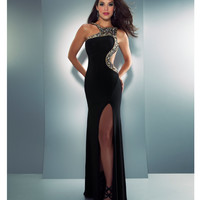 Mac Duggal Prom 2013 - Black & Gold High Neck Gown With Rhinestone Embellishments - Unique Vintage - Cocktail, Pinup, Holiday & Prom Dresses.