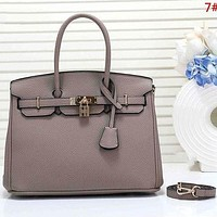 Hermes Women Leather Tote Handbag Shoulder Bag Crossbody Set Two Piece