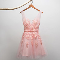 Lace Vest shoulder homecoming dress