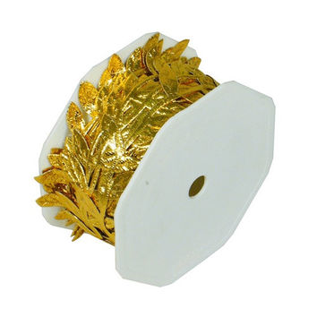 Polyester Leaves Garland Ribbon, 10-yard, Metallic Gold