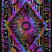 Dark Purple Psychedelic Tie Dye Mix Bohemian Wall Tapestry