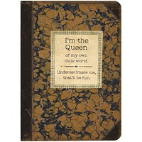 I'm The Queen Rustic Printed Journal | Lays Flat | Printed with Designs from Actual Vintage Books