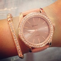 Rose Gold & Rose Leather Strap Watch