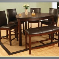 A.M.B. Furniture & Design :: Dining room furniture :: Small Dinette Sets :: Cherry finish sets :: 6 pc dark cherry finish wood rounded triangular shaped design counter height dining table set with plank look top and bench