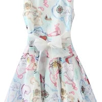Cloud Print Sleeveless Bow Mini Skater Dress