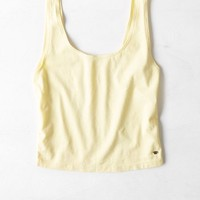 AEO Women's Cropped Boyfriend Tank (Yellow)