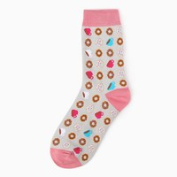 Donuts And Coffee Crew Sock