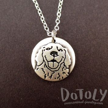 Round Engraved Golden Retriever Dog Portrait Pendant Necklace | Animal Jewelry