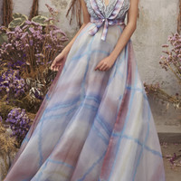 Watercolor Plunging Neckline Gown | Moda Operandi
