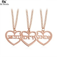 Best Friends BFF Necklaces for Gold Silver Rosegold plated heart Necklace for 3 friendship gift bestfriends Jewelry WW-161