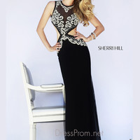 Sleeveless Illusion Neckline Formal Prom Gown By Sherri Hill 11158