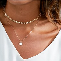 New fashion jewelry, copper hand-shiny collar, double gold-plated chain necklace