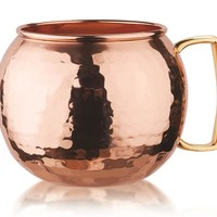Hammered Solid Copper Globe Moscow Mule Mugs - Set Of 4