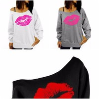 Long Sleeve Lips Print Sexy Off Shoulder Womens Top Plus Size