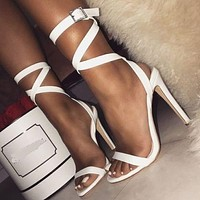 2020 new women's sexy belt buckle stiletto heels shoes