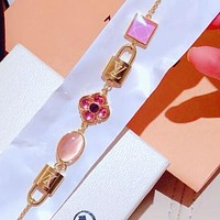 LV Louis Vuitton New Popular Delicate Stainless Steel Gems Small Lock Hand Catenary Bracelet I-KMG-NPSL