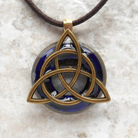 triquetra necklace: royal blue - mens jewelry - celtic jewelry - mens necklace - boyfriend gift - irish jewelry - fathers day - unique gift