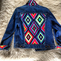 Studded Authentic Levi's Jean Jacket with Tribal Motif Size Small