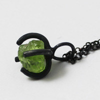 Handmade Peridot Rock Silver Necklace, 925 Silver Peridot Necklace, Unique Gift