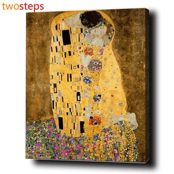 TwoSteps DIY Digital Canvas Oil Painting By Numbers Coloring By Numbers Frameless Acrylic Paint By Number Kits Klimt's The Kiss
