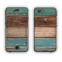 The Wooden Planks with Chipped Green and Brown Paint Apple iPhone 6 LifeProof Nuud Case Skin Set