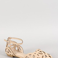 Bamboo Nubuck Cut Out Ankle Buckle Flat Color: Nude, Size: 9